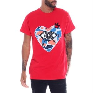 New! Men's Eye Of The Heart Red Shirt Size L